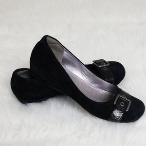 Ecco Bouillon black suede flat 39 8.5